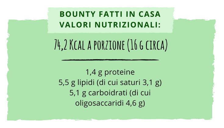 Valori nutrizionali Bounty fatti in casa