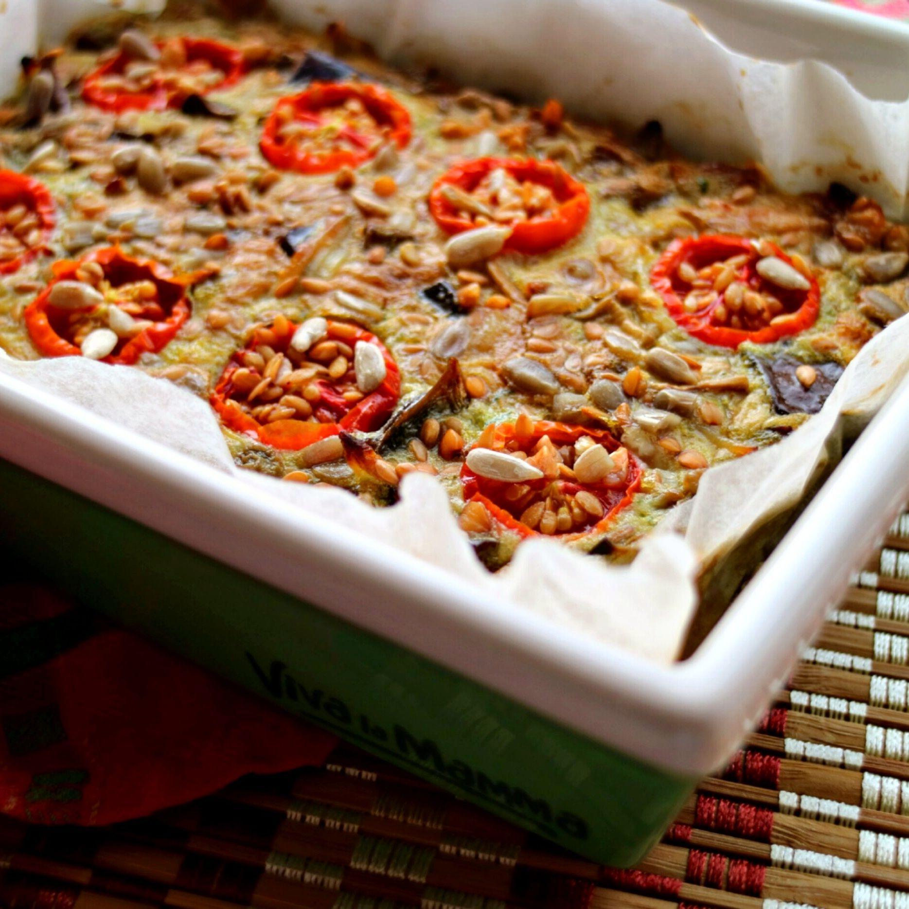Frittata al forno melanzane e pomodorini