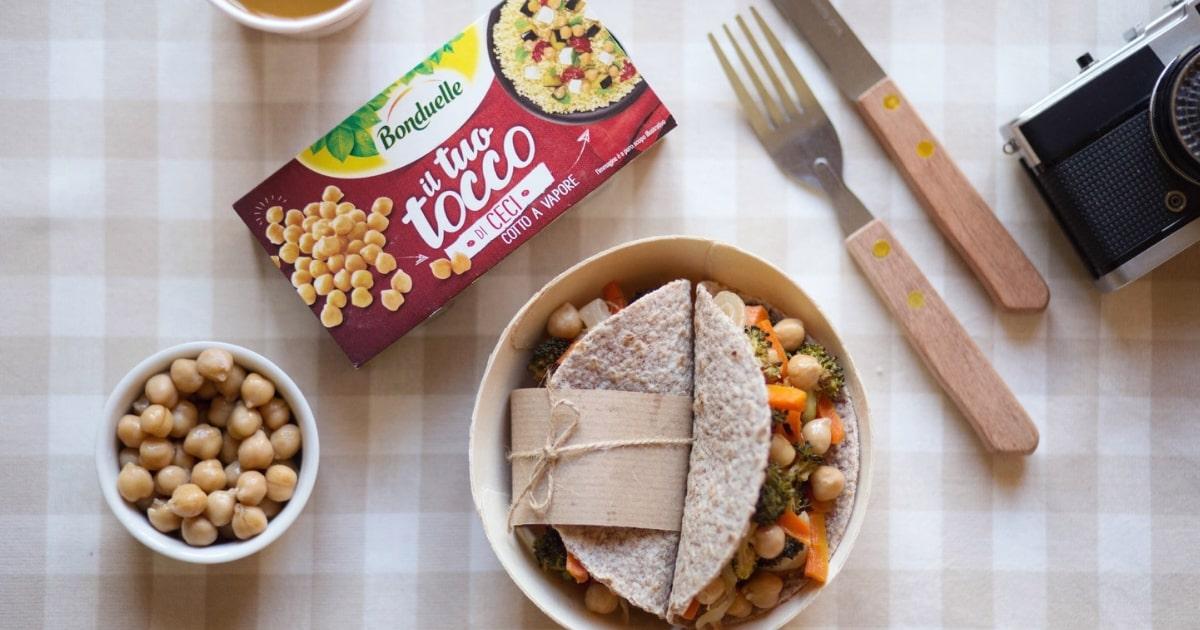idee pranzo al sacco: piadine con verdure e il Tuo Tocco di ceci -