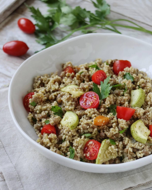 Ricette con lenticchie: cous cous di verdura